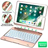 Keyboard Case Compatible with iPad 2018 (6th Gen), iPad 2017 (5th Gen), iPad Pro 9.7,' and iPad Air 1 and 2 - Features Detachable Design, Rotating Hinge and Adjustable Backlight (Rose Gold)