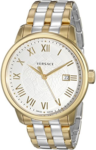 51a6JwufZGL Two-tone watch featuring white guilloche logo dial with gold-tone hands, Roman numeral indices, and date window 43 mm stainless steel case with mineral dial window Swiss quartz movement with analog display