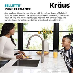 Kraus-KPF-1680SFS-Sellette-Single-Handle-Pull-Down-Kitchen-Faucet-with-Dual-Function-Sprayhead-1763-Spot-Free-Stainless-Steel