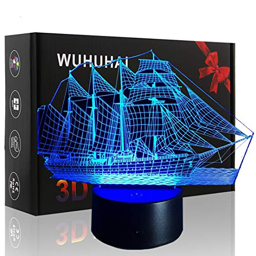 Sailboat 3D Lamp Illusion Night Light Ship Gifts LED Night Light for Kids Birthday Gift Touch Button 3D Optical Illusion Table Desk Lamp with 7 Color Light led Illusion lamp for Kids Girls