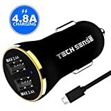 Tech Sense Lab (Australia) 4.8A, 23W Dual USB Ultra Fast Car Charger (Black N Gold)