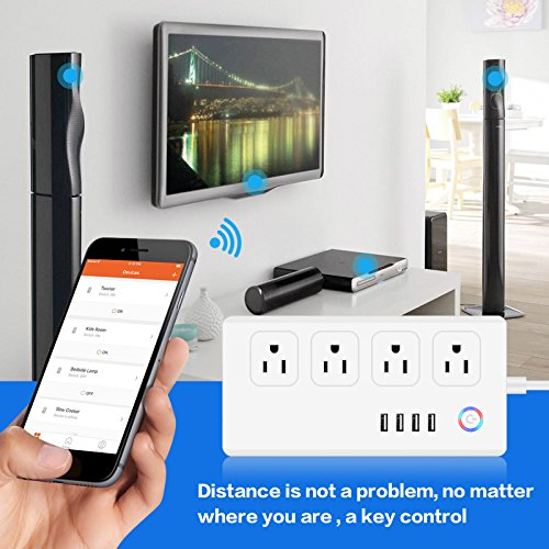WiFi Smart Power Strip Socker, BOSCHENG Smart Multi Outlets Strip Oulet  Surge Protector with 4 Plugs and 4 USB Ports, Work with Alexa Echo & Google