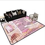 Teen Girls,Printed Mats for Children Bedroom 60'x 72' Royal Palace Bathtub Natural Fiber Area Rug