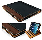 S-Tech New Black and Tan Apple iPad 2 3 4 Generation Soft Leather Wallet Smart Cover with Sleep/Wake Feature Flip Case