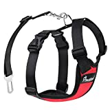 PAWABOO Dog Safety Vest Harness, Pet Dog Adjustable Car Safety Mesh Harness Travel Strap Vest with Car Seat Belt Lead Clip, Suitable for 11 lb-33 lb Dogs, RED