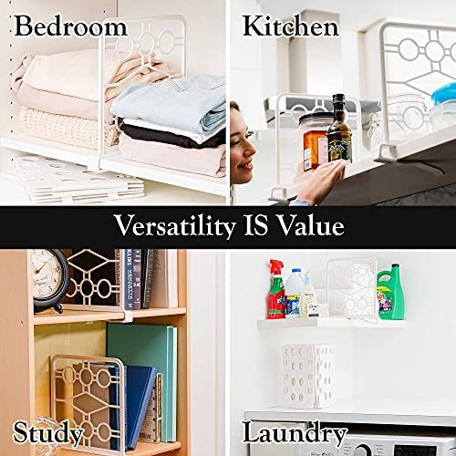 Set of 6 Shelf Dividers in White - Closet Shelf Organizer with Easy-Clip Attachment - Separators for Wooden Shelves in Kitchen, Bathroom, Office, and Laundry Room