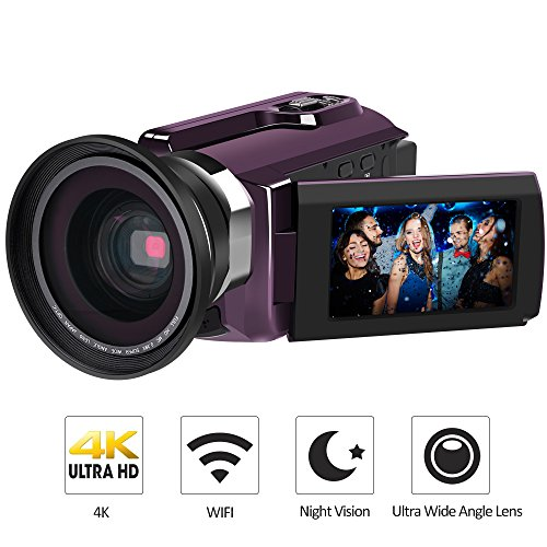 4K Camcorder, LAKASARA Video Camera Camcorders 48.0MP 60 FPS Ultra HD Digital Cameras and Video Recorder with Wifi/Infrared Night Vision Features 3'' LCD Touchscreen External Wide Angle Lens
