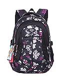 JiaYou Girl Flower Printed Primary Junior High University School Bag Bookbag Backpack(Style A Black,19 Liters)