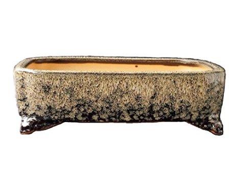 YUKIMONO Namako Glazed Rectangle Bonsai Pot, 7.5-Inch