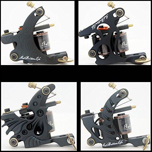 Pro Getbetterlife 4 Pcs Casting Iron Tattoo Machine Guns Shader Liner 8,10 Wrap Coils Supplies