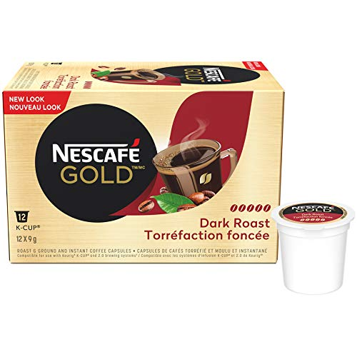 NESCAFÉ Gold Dark Roast Dark & Intense (Pack Of 12 Cups), 12 Count {Imported from Canada}
