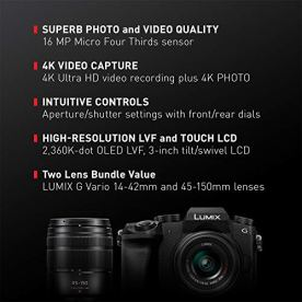 PANASONIC-Lumix-G7-4K-Digital-Mirrorless-Camera-Bundle-with-Lumix-G-Vario-14-42mm-and-45-150mm-Lenses-16MP-3-Inch-Touch-LCD-DMC-G7WK-USA-Black
