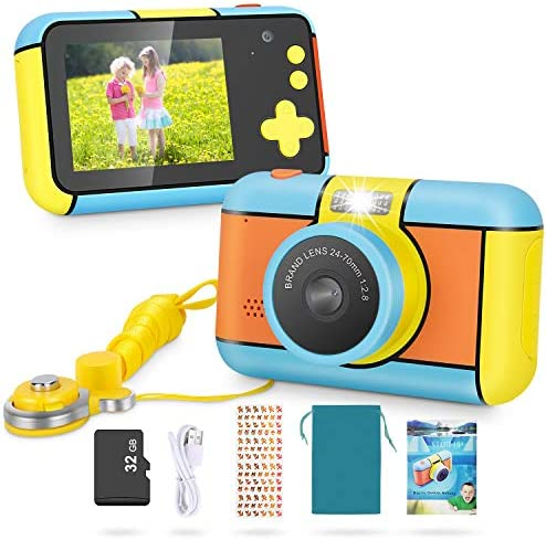 "Magicfun Kids Camera – 24MP Dual Lens Kid Digital Camera Gifts for Boys Girls, 1080P 2.4"" Large LCD Blue Screen Video Camcorder, USB Rechargeable Selfie Camera with 32GB SD Card"