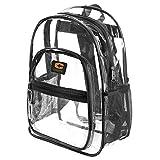 "Clear School Backpack with Padded Straps & ""Bonus LED Flashlight"" (Black_)"