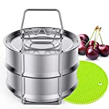 Stackable Steamer Insert Pans with Sling Handle - Premium Stainless Steel Food Steamer, Compatible With 5/6/8 QT Pressure Cooker, Pot in Pot Cooking, Baking, Lasagna Pan