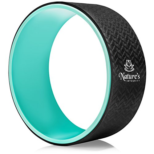 Nature's Integrity Yoga Wheel 13' - [Elite Series] Strongest, Most Comfortable Dharma Yoga Roller - Improve Yoga, Stretching, Reduce Back Pain - Sweat Resistant & Eco-Friendly - Guide Included (Teal)
