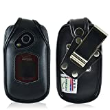 Turtleback Fitted Case for Kyocera DuraXV Plus Flip Phone Black Leather Rotating Removable Metal Belt Clip - Made in USA