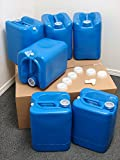 5 Gallon Samson Stackers, Blue, 6 Pack (30 Gallons), Emergency Water Storage Kit - New! - Clean! - Boxed! Spigot. Cap Wrench.