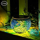 Solar Glass Ball Table Lamp Mosaic Lights 2 Pack Waterproof Night Light for Home, Garden, Patio Decoration,Ideal Gifts (Multicolor)