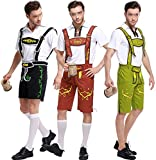 Oktoberfest Costume Bavarian Men Uniform Lederhosen Shorts with shirt Green Medium