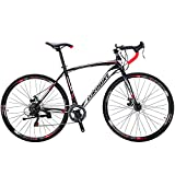 Eurobike Road Bike EURXC550 21 Speed 54 cm Frame 700C Wheels Road Bicycle Dual Disc Brake Bicycle Black-White 60