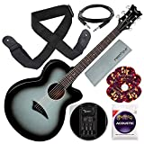 Dean AX PE SVB Acoustic-Electric Guitar, Silverburst with Guitar Strap and Accessory Bundle