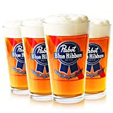 Pabst Blue Ribbon Beer Glasses, Set of 4