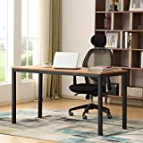 AUXLEY Modern Simple Computer Desk for Home Study, Waterproof and Anti-Scratch Double Deck Wood and Metal Office Table, 55'', Teak