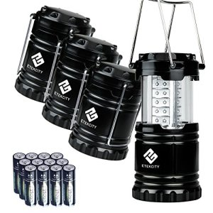 Etekcity 4 Pack Portable LED Camping Lantern with 12 AA Batteries – Camping Equipment Gear Survival Kit for Emergency, Hurricane, Power Outage (Black, Collapsible)