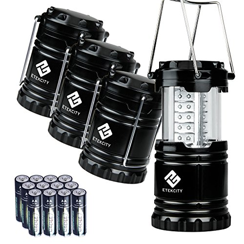 Etekcity 4 Pack Portable Outdoor LED Camping Lantern with 12 AA Batteries - Camping Equipment Gear Survival Kit for Emergency, Hurricane, Power Outage (Black, Collapsible)