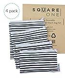 SquareOne 4 Piece Reusable Bag Set - Reusable Sandwich Bags - Reusable Snack Bags - 2 Small Bags / 2 Large Bags, Machine Washable, Charcoal Grey Watercolor