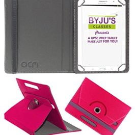 ACM Rotating Leather Flip case/Folio case For Byju Learning Tab 10 Inch Tablet Cover Stand Dark Pink