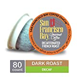 San Francisco Bay OneCup, DECAF French Roast, Single Serve Coffee K-Cup Pods (80 Count) Keurig Compatible, Swiss Water Process- Decaffeinated