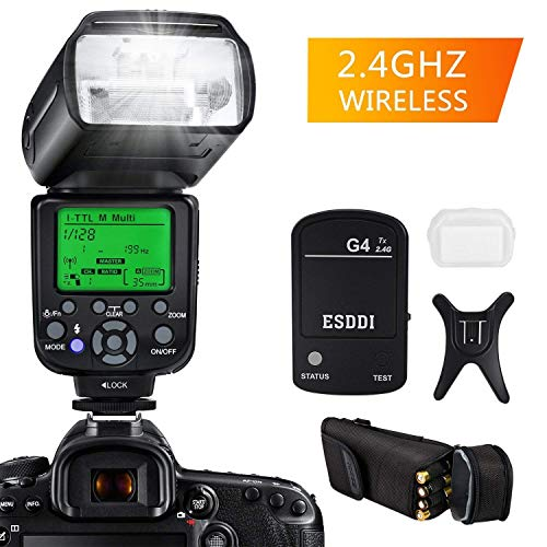 ESDDI Flash Speedlite for Nikon, i-TTL 1/8000 HSS Wireless Flash Speedlite GN58 2.4G Radio Master Slave for Nikon, Professional Flash Kit with Wireless Flash Trigger for Nikon DSLR Cameras