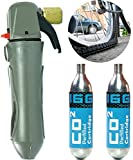 Jecr CO2 Bicycle Tire Inflator Kit - Air Inflation Threaded Valve Pump for Bike - (2) Two 16g C02 Cartridges Included - Portable Cycling Repair Device for All Mountain, Road, and BMX Biking