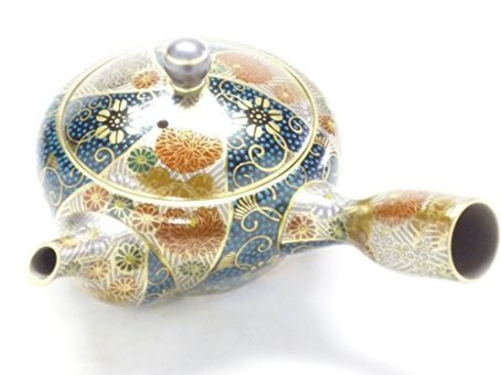 Kutaniya Hyakkaen fusion of Kutani ware and banko ware Teapot Kessaku(Hand-Made-Aotibu Hanazume Collaboration)