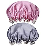 Mudder 2 Pack Women Waterproof Shower Hat Elastic Double-Layer Bath Cap