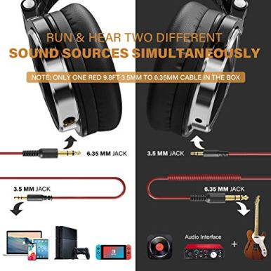 OneOdio-Wired-Over-Ear-Headphones-Studio-Monitor-Mixing-DJ-Stereo-Headsets-with-50mm-Neodymium-Drivers-and-14-to-35mm-Audio-Jack-for-AMP-Computer-Recording-Phone-Piano-Guitar-Laptop-Black