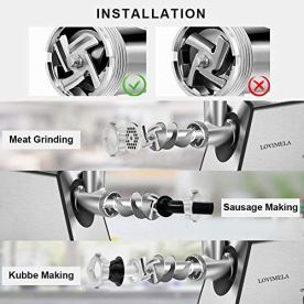 Meat-Grinder-Electric-Stainless-Steel-Food-Grinder-Sausage-Stuffer-2600W-Max-Meat-Mincer-with-Sausage-Tube-Kubbe-Maker-2-Blades-3-Plates-for-Home-Kitchen-Commercial-Use