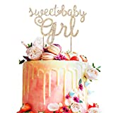 Sweet Baby Girl Rhinestone Gold Metal Bling Cake Topper Party Decoration Cheers to Baby Shower 1st month/year Kids Birthday - 5.9'' x 7.5''(Gold).
