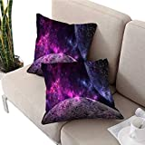 longbuyer IKEA Pillow Covers Planets and Galaxy Science Fiction Wallpaper Beauty of deep Space Square Cushion Case W 16' x L 16' 2 pcs