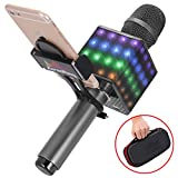 KaraoKing Wireless Bluetooth Karaoke Microphone - Portable KTV Machine with Speaker, LED Lights and Bonus Phone Holder Perfect for Pop, Rock n Roll, Solo Parties and More (H8 2.0 Dark Gray), (HG1)