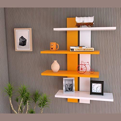 Shine Wood Art Floating Wall Shelves For Living Room Bedroom And Home Decoration Set Of Shelves 4 Orange White
