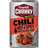 Campbell's Chunky Chili, Hot & Spicy Beef & Bean Firehouse, 19 Ounce (Pack of 12)