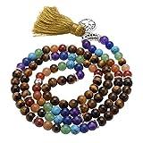 Top Plaza 7 Chakra Mala Prayer Beads 108 Meditation Healing Multilayer Bracelet/Necklace W/Tree of Life Tassel Charm(Tiger Eye Stone)
