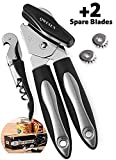 Can Opener Manual with 2 Spare Blades & Corkscrew | Professional Heavy Duty Stainless Steel - Ergonomic Anti Slip Design - Big Knob For Easy Turn - Ultra Sharp Blades - Ideal For Seniors And Arthritis