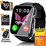 Business Smart Watch Phone - [Free SIM Card + 8GB TF ] Touchscreen Unlocked Smartwatch for Women Men Cell Phone Watch with Sync Function Music Player Camera Smartphone for Android Father's Day Gift