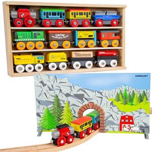Orbrium Toys 12 (20 Pcs) Wooden Train Cars for Kids + Dual-use Wooden Box Cover/Tunnel Wooden Train Set Trains Toy Compatible with Thomas Wooden Railway, Brio 51akp6gDsjL