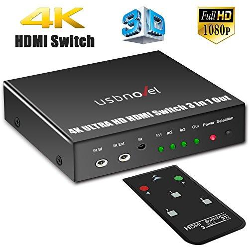 HDMI Switch,3 Port HDMI Switcher Box with IR...