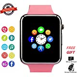 Smart Watch Phone Bluetooth Smartwatch with Camera Pedometer SMS SNS Sync SIM Card Slot TF Card Music Player Compatible with Android and iPhone (Partial Functions) for Women Girls Kids Teens (Pink)